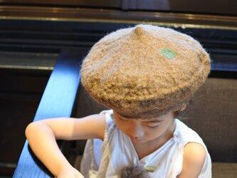 kids ベレー帽 felt 〜スタンダード 淡茶〜 【リバーシブル対応】(2歳〜10歳頃)の画像