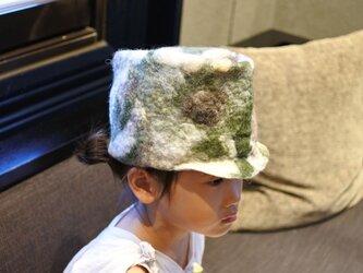 kids ピノ帽 felt 〜 マーブル 迷彩 × ピンク 〜 【リバーシブル対応】(2歳〜6歳頃)《受注製作》の画像