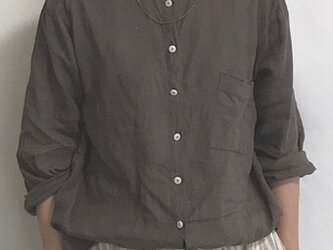 standcollar-shirt/charcoal grayの画像
