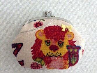 おめかしライオン - 昔の外国布がま口ポーチ /クレジットカードケース/ヴィンテージ/レトロの画像