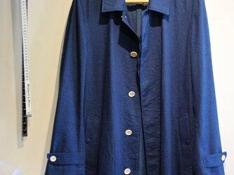 本藍染 デニム ステンカラーコートの画像