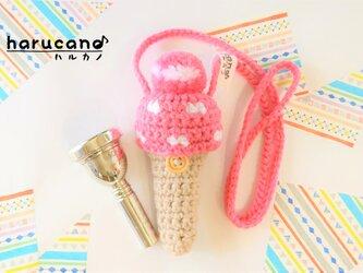 トロンボーン マウスピースケース毛糸のポンポン模様有り【ローズピンク】首掛け用の画像