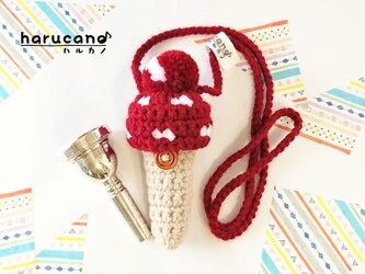 トロンボーン マウスピースケース毛糸のポンポン模様有り【ワインレッド】首掛け用の画像