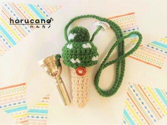 トロンボーン マウスピースケース毛糸のポンポン模様有り【エバーグリーン・草色】首掛け用の画像