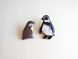 ペンギン 漆ブローチの画像