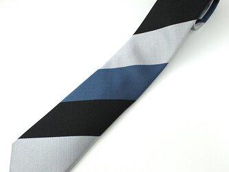受注制作・レジメンタルストライプ/青×黒×ライトグレーの画像