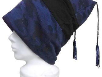 迷彩柄 ジャガード織ニット/スクエアワッチキャップ(ゆったり)◆ブルー系の画像