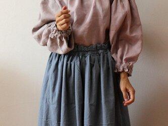 くすみブルーグレー ギャザースカートの画像