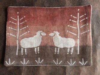 柿渋染めティーマット 羊  裏地付の画像