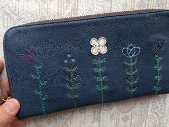刺繍革財布『LIFE』紺(やわらかヤギ革)の画像
