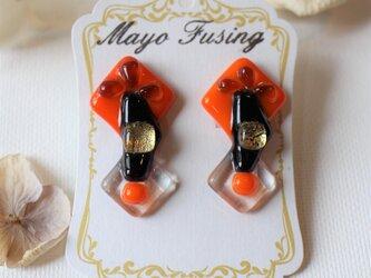 ゴージャスオレンジ*ガラスのイヤリングの画像