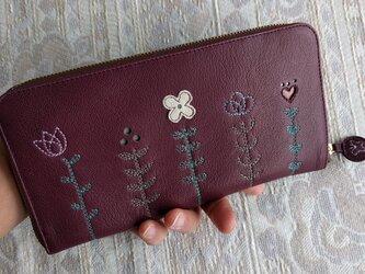 刺繍革財布『LIFE』(ワイン)やわらかヤギ革の画像