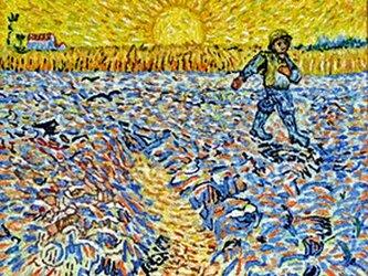 【展示品】刺繍絵画:ゴッホの種を蒔く人(ミニ)の画像