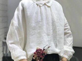 【受注製作】綿麻!可愛綿麻製トップス・ブラウス09800の画像