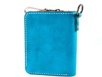 大きなカードポケットの二つ折りのお財布(ターコイズ)の画像
