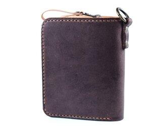 大きなカードポケットの二つ折りのお財布(ココア)の画像