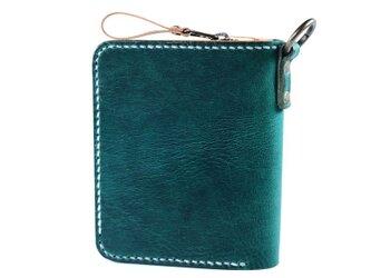 大きなカードポケットの二つ折りのお財布(グリーン)の画像