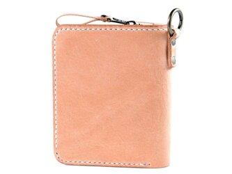 大きなカードポケットの二つ折りのお財布(ナチュラル)の画像
