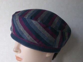 魅せる帽子☆【受注製作】グラデーションストライプのリバーシブルベレーの画像