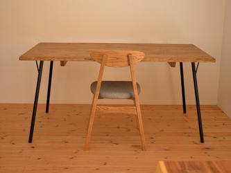 ※受注製作※古材風・マロン(クリ)材耳付きビンテージ&アンティーク調ダイニングテーブルの画像