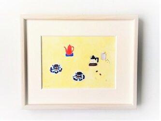 「coffee time」イラスト原画/額縁入りの画像