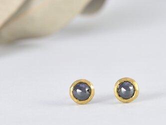 pure gold x Black diamond1.10ct/1.08ct ~純金とブラックダイヤモンドのピアスの画像