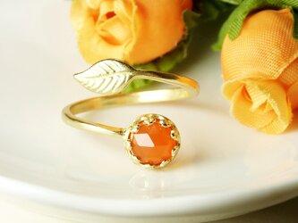*R43*宝石質カーネリアンAAA(濃色/ローズカット)★クラウン&リーフリングの画像