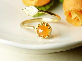 *R43*宝石質カーネリアンAAA(淡色/ローズカット)★クラウン&リーフリングの画像