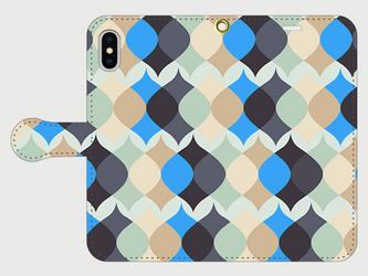北欧テイスト ランタンパターン(ブルー) iphone 5/5s/6/6s/SE/7/8/X 専用手帳型の画像