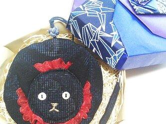 ねこ丸、榴 -リュウくん(紬椿文様のミニ丸ポーチ)の画像