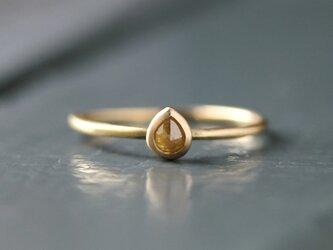 K18 ローズカット・ダイヤモンドリング 〈ペアシェイプ・イエロー〉の画像