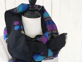 ブラック x カラフル リバーシブル エスニック 和風 綿 良品質 ストールの画像