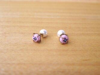 (セール品)ピンクのミルフィオリのピアスの画像