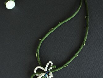 淡水パールのお花⁂ダークグリーンコードの画像
