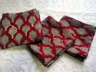 インド綿バンダナ(ブロックプリント)<レッド・花柄>の画像