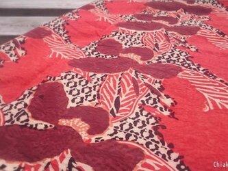 インド綿バンダナ(ブロックプロント)<レッド・エスニック柄>の画像