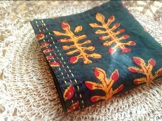 インド綿バンダナ(ブロックプリント)<グリーン・葉っぱ柄>の画像