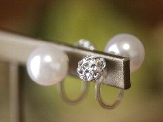 卒業式/入学式*2wayWfaceパールノンホールピアス ビジュー・白 卒園式 入園式 ウエディング 結婚式 真珠 ブライダルの画像