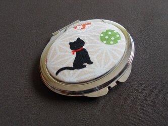 Wミラーコンパクト*黒猫緑手まりの画像
