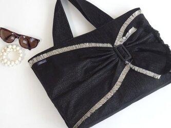 ラメMixデニム リボンのトート・ブラック A4が入る大きめバッグの画像