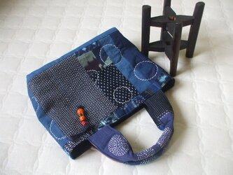 藍染集めのトートバック 木綿の画像