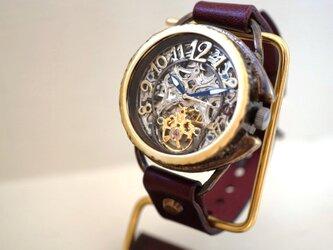 アラベスク AT SV/MOV 真鍮 ワインブラウン 手作り腕時計の画像