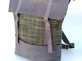 フレンチモロッコ スラブ ダークグレー ブルーレザーリュック  レザーフリップ & ポケットの画像