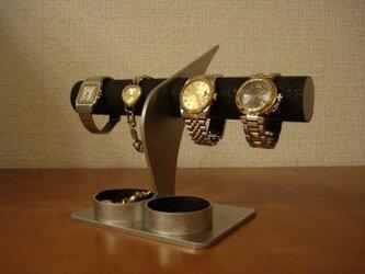 彼氏に ブラックコルク4本掛けデザイン腕時計スタンド 丸トレイ AKデザインの画像