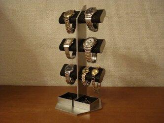 時計スタンド ブラック6本掛けダブル角トレイ腕時計スタンドタワーの画像
