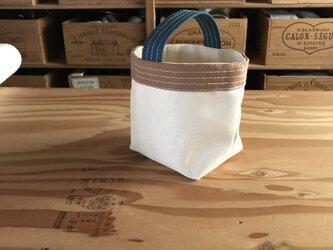 帆布バッグ[ミニミニ]生成り×鉄紺×レンガの画像