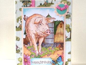 お散歩する豚さん バースデイカードの画像