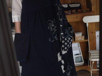 久留米絣と古布のパッチワークワンピースの画像