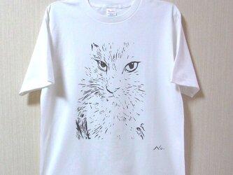 凛々しい「ねこ」Tシャツ 手でペイント 風合いある★こだわり★Tシャツ <受注生産>の画像