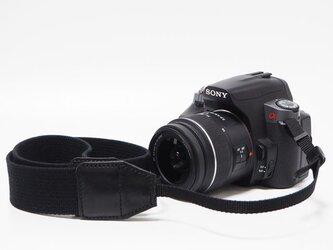 カメラストラップ カメラ女子 カメラ男子 一眼レフ 紐ストラップ オリンパス キャノン ニコン ブラック【受注生産】の画像